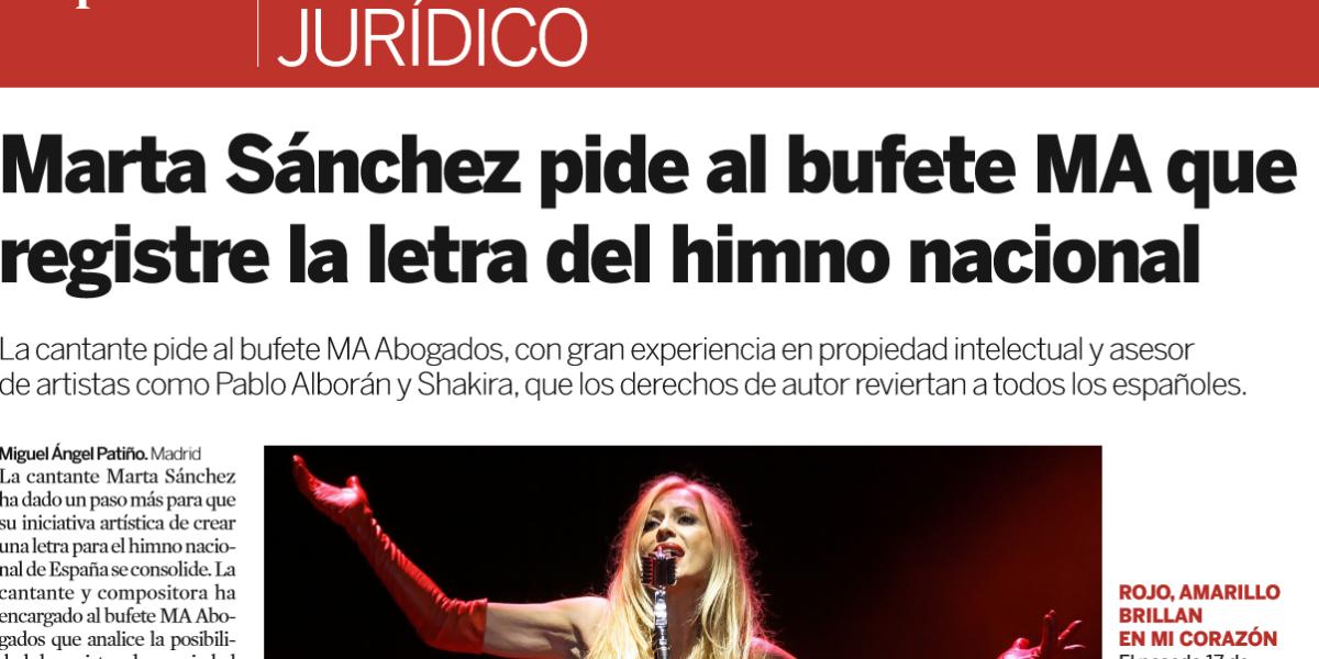 MA Abogados Asesora A La Cantante Marta Sánchez En Materia De Propiedad Intelectual