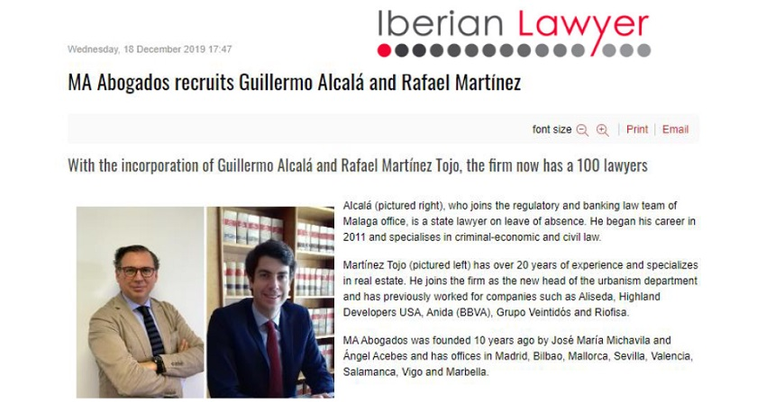 Iberian Lawyer, MA Abogados Recruits Guillermo Alcalá And Rafael Martínez