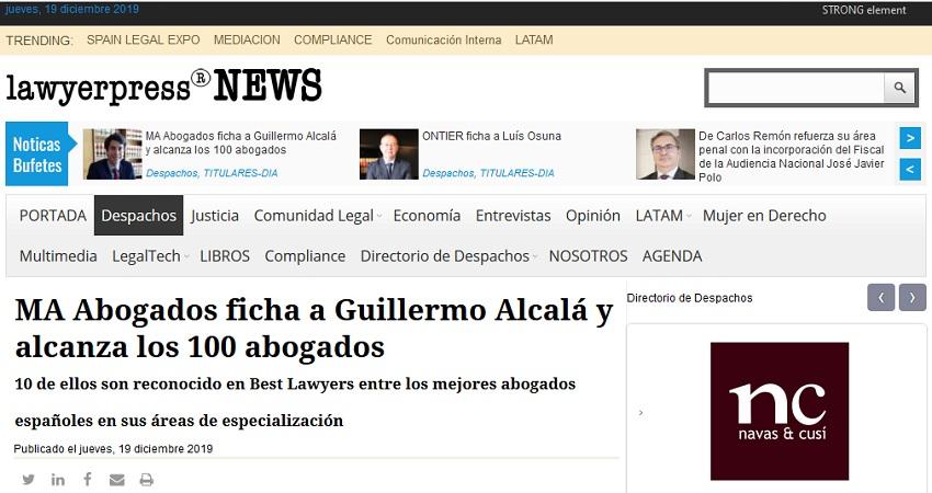 Lawyerpress: MA Abogados Ficha A Guillermo Alcalá Y Alcanza Los 100 Abogados