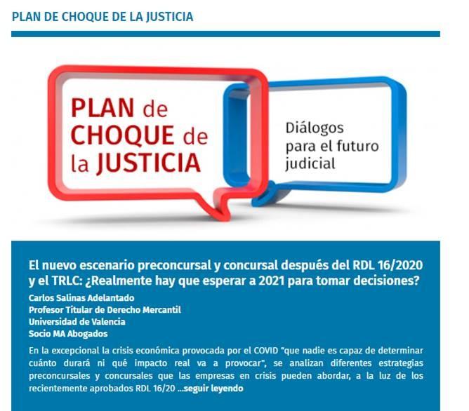 DIARIO LA LEY:   NUEVO ESCENARIO PRECONCURSAL Y CONCURSAL DESPUÉS DEL RDL 16/2020 Y EL TRLC: ¿REALMENTE HAY QUE ESPERAR A 2021 PARA TOMAR DECISIONES?