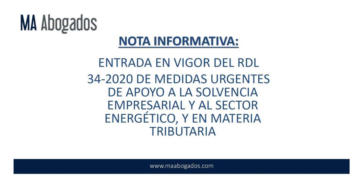 MEDIDAS DE APOYO A LA SOLVENCIA EMPRESARIAL Y AL SECTOR ENERGÉTICO.